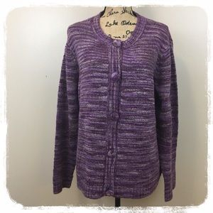 Appleseed's Purple Heathered Cardigan Sweater XL